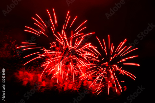 Obraz Amazing red fireworks on dark background - fototapety do salonu