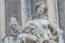 Old Statue Of A Sensual Baroque Era Naked Woman In Downtown Of Dresden, Germany, Details, Closeup