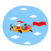 Draw Funny Santa Driving Airplane Carry Gifts For Christmas Day And New Year Day, Holiday Concept, Hand Draw Doodle Cartoon Style.