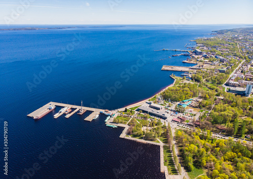 Beautiful aerial air summer vibrant view of Petrozavodsk, Russia, the administra Fototapeta