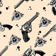 Seamless Pattern With Revolver...