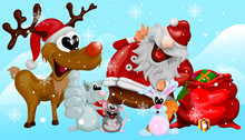 Comical And Funny Christmas Illustration With Santa Claus, Deer, Cat With Rat, Bunny In Cartoon Style To Design Your Cards.