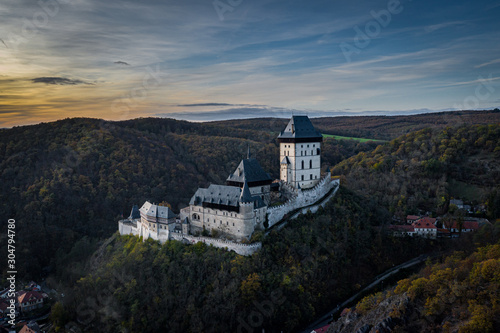 Photo Karlstejn Castle is a large Gothic castle founded 1348 CE by Charles IV, Holy Roman Emperor-elect and King of Bohemia