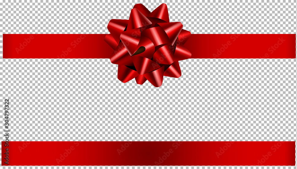 Fototapeta red bow and ribbon illustration for christmas and birthday decorations
