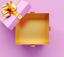 Opening Pink Gift Box With Golden Shiny Bow On Pink Background 3D Rendering