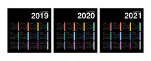 Year 2019 And Year 2020 And Year 2021 Calendar Vector Design Template, Simple And Clean Design. Calendar For 2019 And 2020 On Background For Organization And Business. Week Starts Monday.