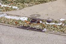 Storm Sewer Gutter Drain Grate In City Street Curb Covered In Melting Snow And Leaves After Autumn Snowstorm