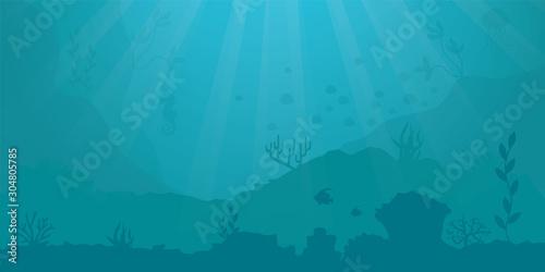 vector background - underwater ocean scene Canvas-taulu