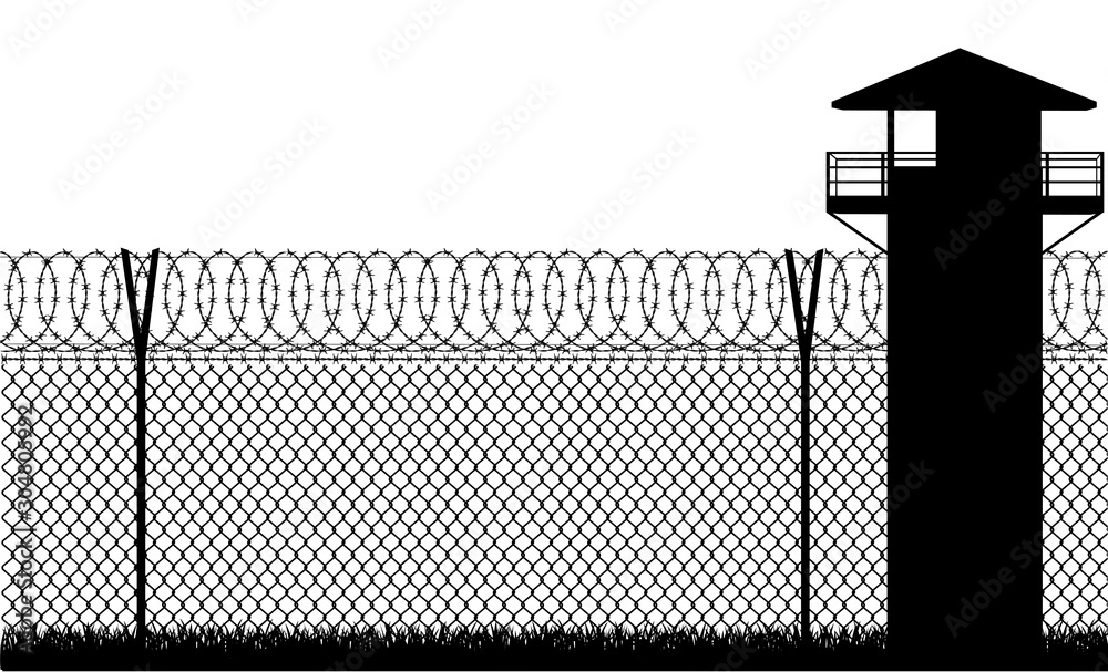 Fototapeta Barbed wire prison fence vector illustration