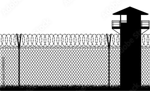 Barbed wire prison fence vector illustration Canvas-taulu