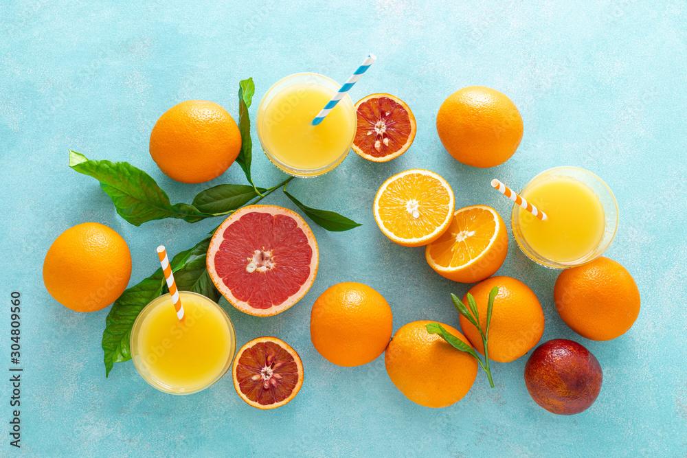 Fototapeta Orange juice, freshly squeezed juice, vitamin C concept