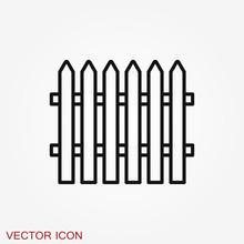 Fence Icon, Modern Minimal Flat Design Style