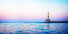 Lighthouse Of Chania At Pink S...