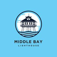 Middle Bay Lighthouse Logo Vector