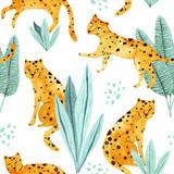 Piękny bezszwowe akwarela kwiatowy lato wzór tła z palmami tropikalnymi liśćmi, lampart. Idealny do tapet, tła strony internetowej, tekstur powierzchni, tekstyliów. - 304812153
