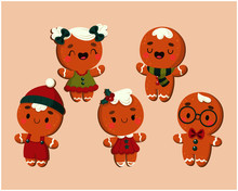Cute Merry Christmas Gingerbread Cookies Men And Women And Children Collection Vector Illustration Collection