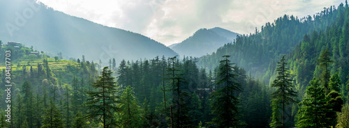 A mountain valley, Jibhi, Tirthan Valley, Himachal Pradesh, India