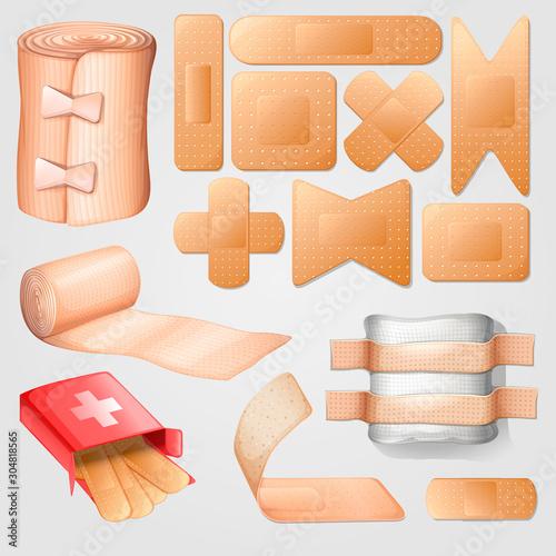 medical bandaid illustration design set Wallpaper Mural