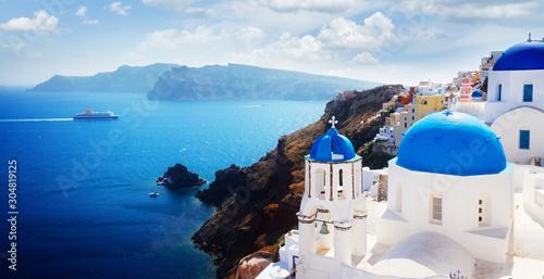 Fototapeta view of caldera with blue domes, Santorini obraz