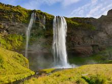 Waterfall Among Rocks In Icela...