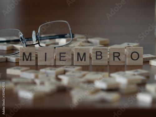 miembro la palabra o concepto representado por baldosas de madera Canvas Print