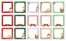 Set Of Christmas Photo Frame Vector Cartoon Design, Cute Christmas Border Design Decoration With Santa Claus.