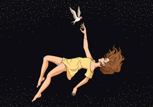 Girl Flying Down With A Bird. ...