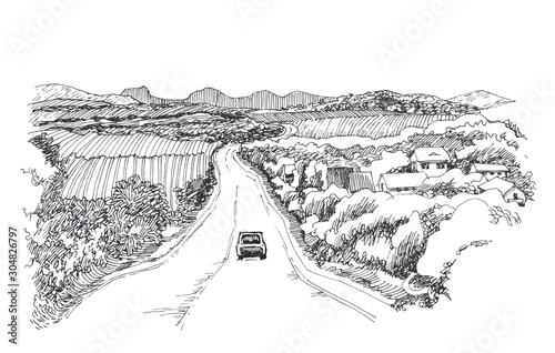 Plakaty do przedpokoju  the-road-to-the-horizon-the-car-goes-on-the-road-a-sketch-of-ink