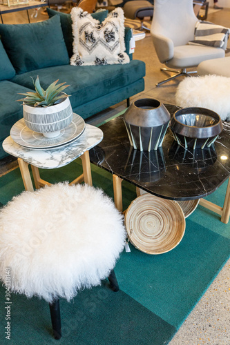 Blue Velvet Couch and White Faux Fur Stool