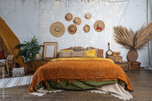 Cozy house with room in boho style interior Wallpaper Mural