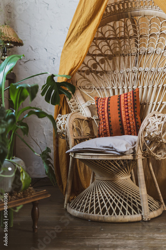 Obraz Cozy house with room in boho style interior - fototapety do salonu