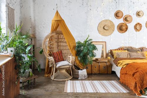 Photo Cozy house with room in boho style interior