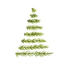 Watercolor Christmas Tree Deco...