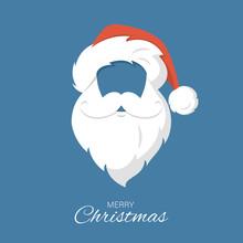 Santa Claus Hat And Beard. Merry Christmas
