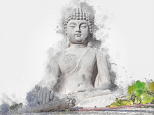 Buddha Sitting In Yard With Art And Colorful Background In Paint Style