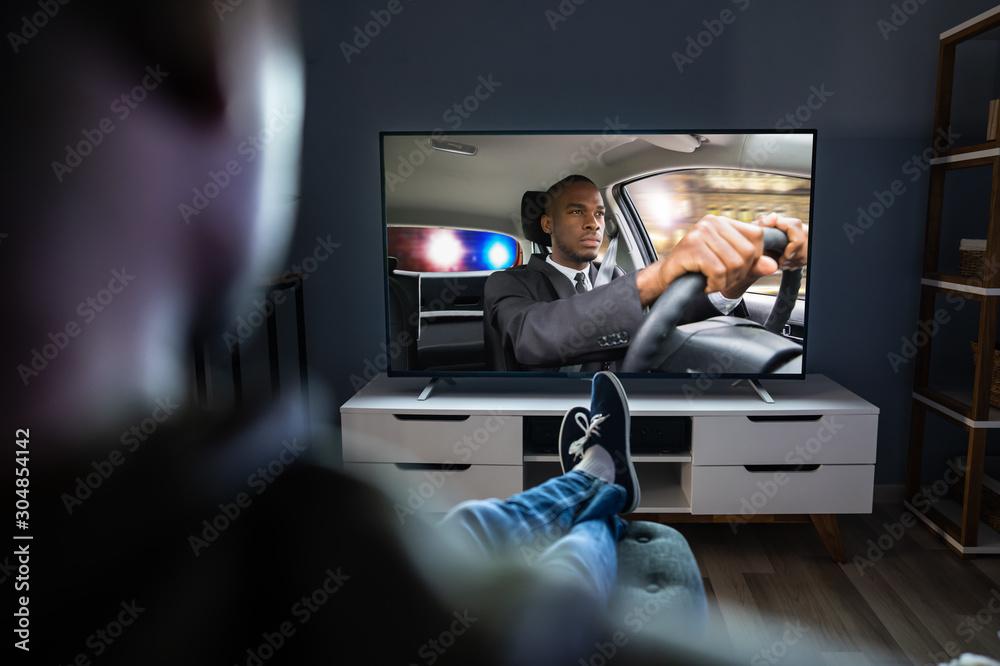 Fototapeta Man Watching Television
