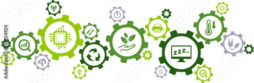 Fotomural  Green computing / green IT connected icon concept: environmentally sustainable I