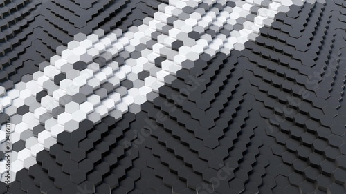 Black Hexagonal Array with Tripple White Lines 3D Render Canvas Print