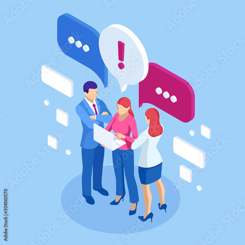 Obraz Isometric concept of discussing, chatting, conversation, dialogue. Businessmen and woman discuss social network, dialogue speech bubbles, news, social networks, chat. - fototapety do salonu