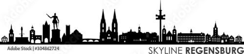 Fototapeta Regensburg City Skyline Vector Silhouette obraz