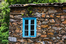 Window With Blue Rustic Wood T...