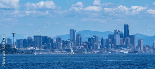 Seattle waterfront and skyline as seen from Elliott Bay Canvas Print