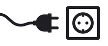 Electricity Outlet Socket Power Plug Vector Illustration Icon