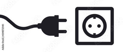 Leinwand Poster Electricity outlet socket power plug vector illustration icon