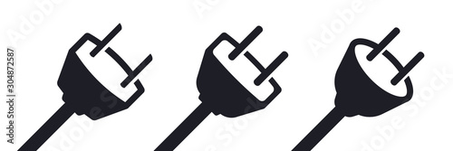 Leinwand Poster Electricity power plug types vector illustration icon