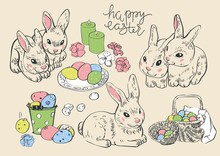 Happy Easter. Rabbit Hare Bunn...