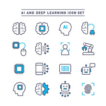 AI AND DEEP LEARNING ICON SET