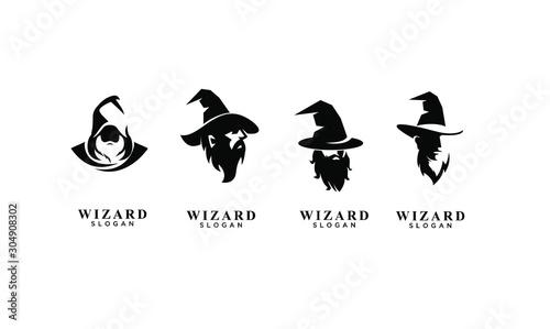Fotografía set of wizard badge logo icon design vector illustration
