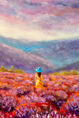 Fototapeta Do salonu Beautiful Girl in Lavender Violet Flower Field - Oil Painting Summer Italian Landscape