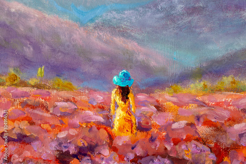 Oil Painting Beautiful Girl stands with her back in a lavender pink flower field - floral French Tuscan landscape
